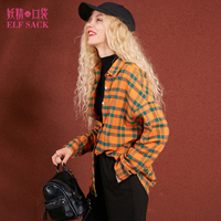 ELF SACK 2017 Winter Women Thick Vintage Plaid Blouses Womens Loose Oversize Blouse Number Print Female