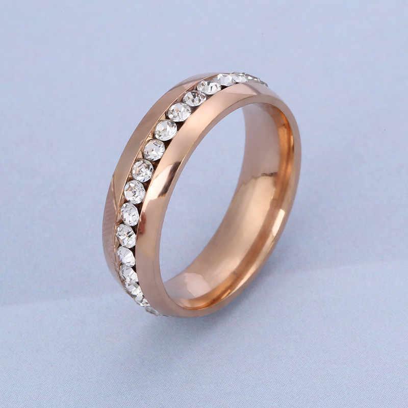 Stainless Steel Cincin Pria dan Wanita Mawar Emas Penuh Cincin Perak Berlapis Cincin Pertunangan Wanita Cincin Emas untuk Pasangan cincin