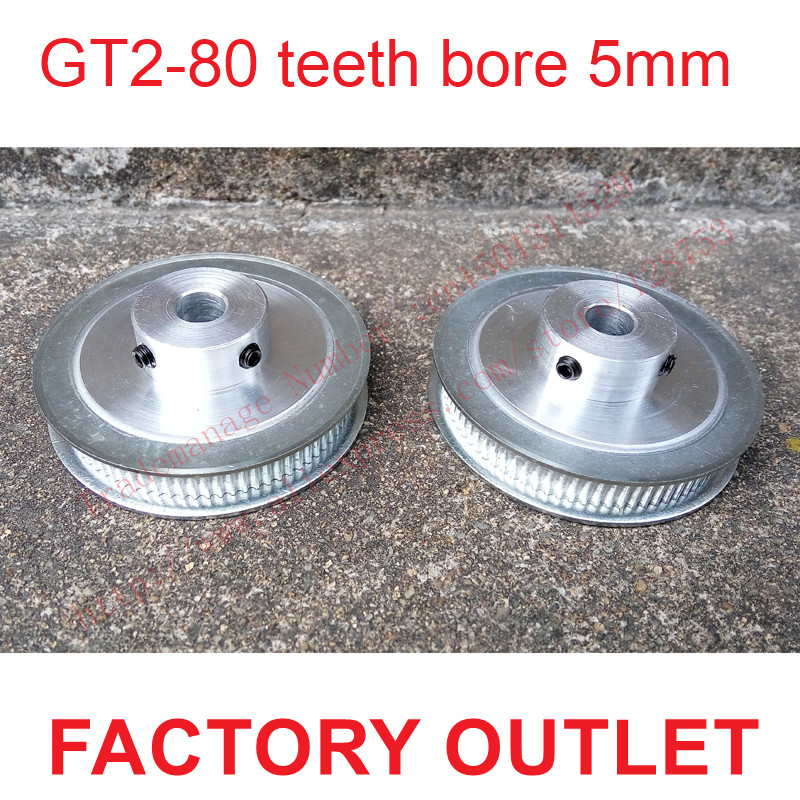 whole sale 2pcs 80 teeth Bore 5mm GT2 Timing Pulley 80 tooth fit width 6mm of 2GT timing Belt High quality Free shipping high quality 1pc 80 teeth gt2 timing pulley bore 5mm 14mm fit width 6mm 2gt timing belt toothed tooth cnc machine 3d printer