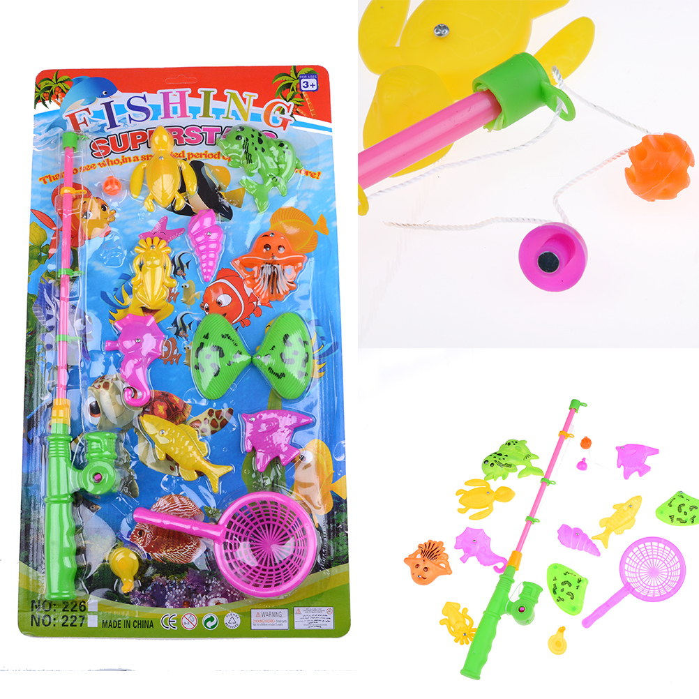 2017New 1Set Funny Kids Magnetic Fishing Game Rod Hook Catch Funny Bath Time Toy Color Random