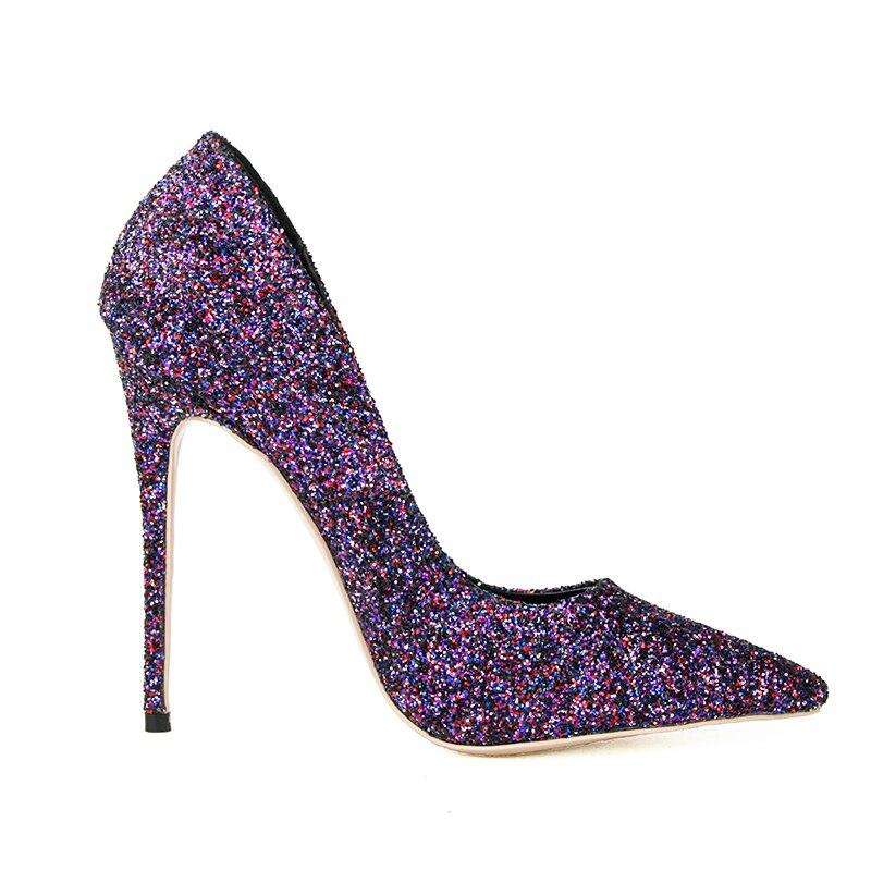 Femmes Pompes 5 Taille Pointu Chaussures Talons Initiale Populaire La Us 3 Plus Glitter L'intention Femme Mince 10 Élégant Nouveau Ef0033 Bout Violet Hauts x1Cwpt