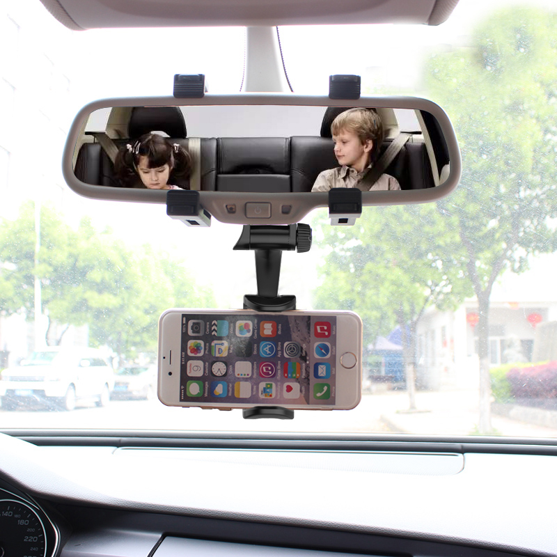 Universal Car Phone Holder Auto Car Rearview Mirror Mount Phone Bracket Adjustable 360 Degree Cellphone Stand For GPS Smartphone