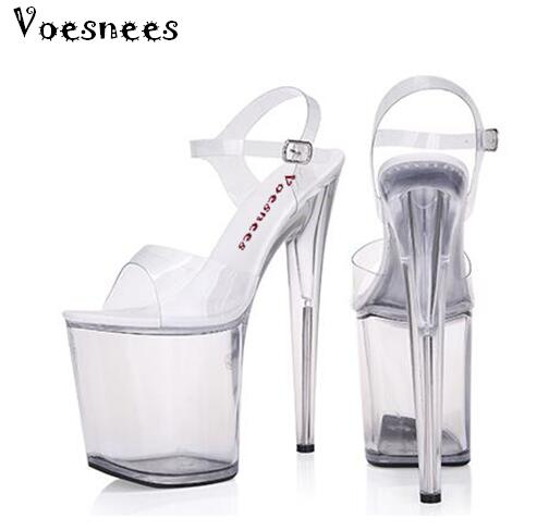 Sandals Women Platform Model T stage Shows Sexy High-heeled Shoes 10-20 cm High Transparent Waterproof Sandals Large-size 35-42 hombres g cap roig