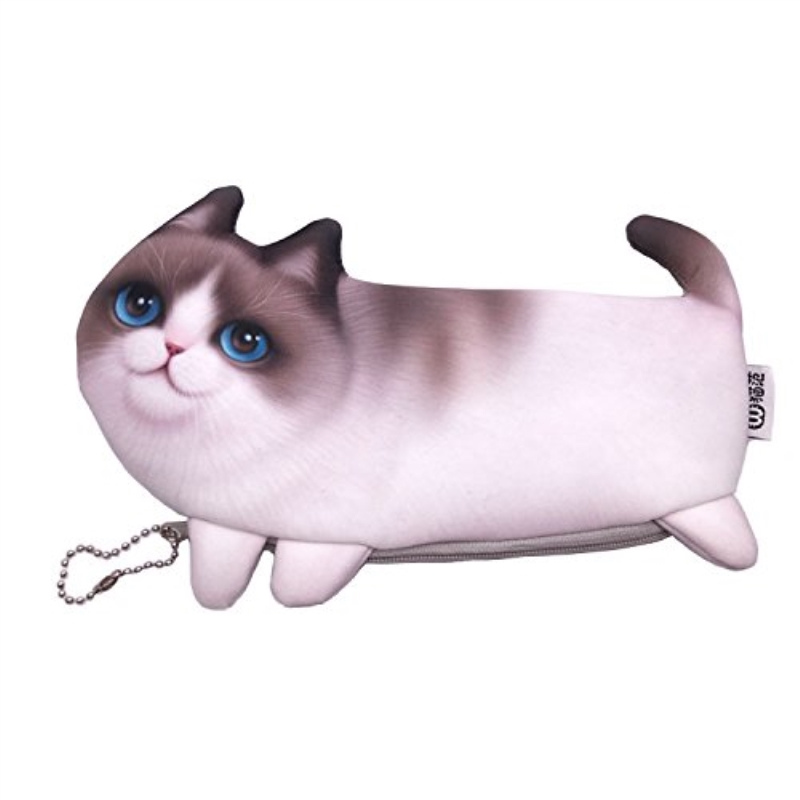 cute Cat Makeup Case Travel Organizer Cosmetic Bags Neceser Toiletry Cosmetics Pencil Case 3D Printing Storage Pouch Gifts