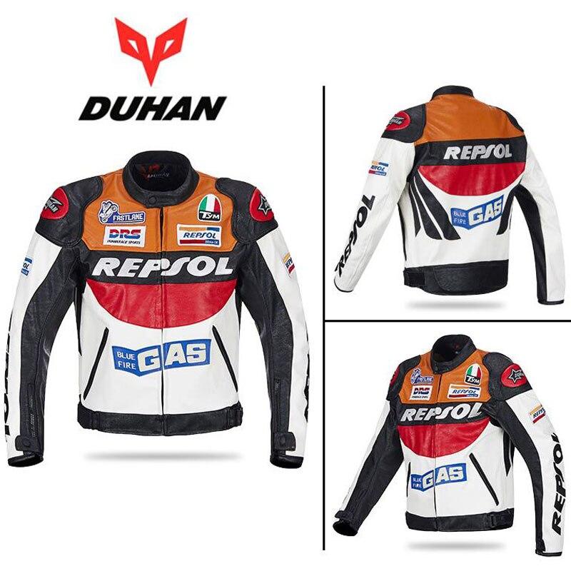 2017 модные DUHAN moto Racing куртки moto rbike GP REPSOL moto rcycle кожаная куртка для верховой езды полиуретановая кожа оранжевый синий