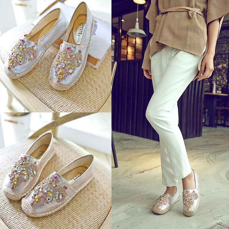 Moda brillantes zapatos de cuero de mujer de marca famosa rhinestone colorido pescador zapatos alpargatas mujeres