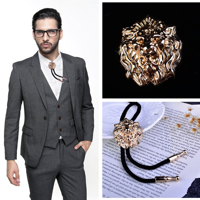 Fashion Men Bolo Tie Neck Tie Men's Shirts Tie Rope Arrogance Lion's Head BoloTie Cowboy Male Accessories Gifts For Men