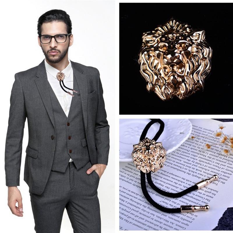 Fashion Men Bolo Tie Neck Tie Men's Shirts Tie Rope Arrogance Lion's Head BoloTie Cowboy Male Accessories Gifts For Men