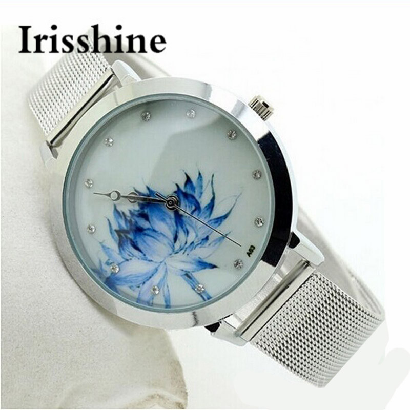 Irisshine lady Ms Fashion Casual Women Blue Lotus Stainless Steel Mesh Quartz Wrist Watch women female Jewelry Watch gift #1002 stylish 8 led blue light digit stainless steel bracelet wrist watch black 1 cr2016