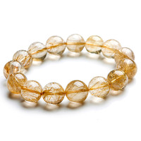 15mm Genuine Brazil Natural Titanium Rutilated Quartz Crystal Bracelet Women Mens Yellow Gold Round Beads Stretch Charm Bracelet