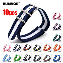 BUMVOR 10pcs Watch Band Luxury Nylon Fabric 18mm 20mm 22mm Alloy Buckle Accessories Colorful Stripe Watchbands Sport
