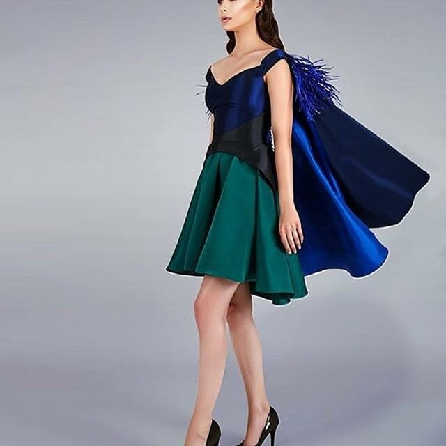 Unique Mix Color Formal Party Dress For Women 2016 Royal Blue Green With Cloak  Mini Gowns Black Pleat Feather Cocktail Dresses 1121b419f660