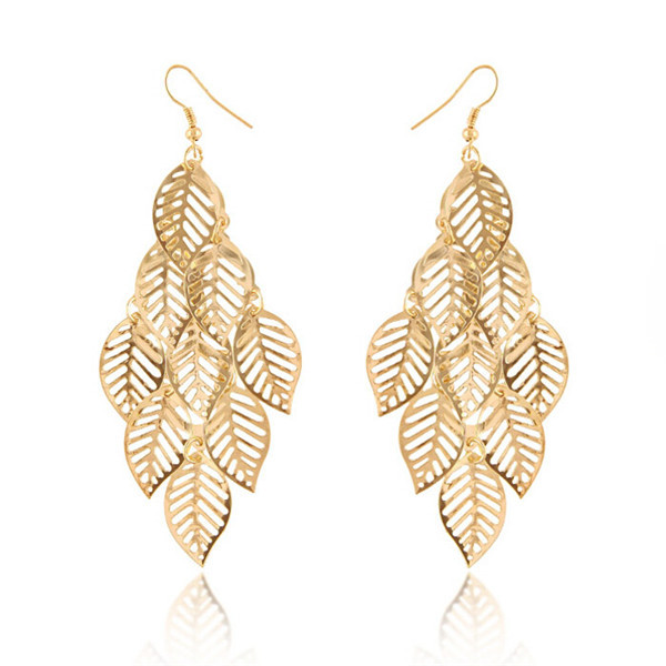 5e6d05288 2017 hollow out simple gold earring designs for women leaves indian gold  jhumka earring