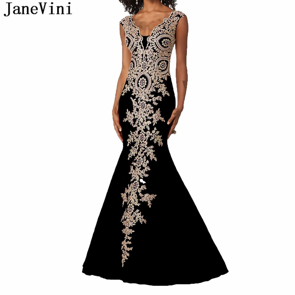 JaneVini 2019 Sexy Deep V Neck African Black Mermaid   Prom     Dresses   God Lace Appliques Beaded Backless Satin Gown Galajurken Lang
