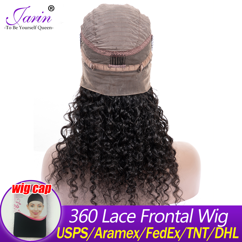 360 Lace Frontal Wigs Kinky Curly Human Hiar Lace Front Wig 180% Density Brazilian Remy Hair Pre Plucked Hairline Natural Color(China)