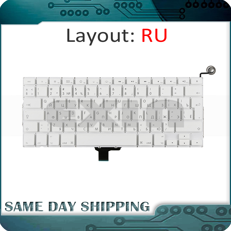 New Laptop A1342 Russian Russia RU Keyboard White for Macbook Pro 13'' Unibody Russian Keyboard Replacement MC207 MC516 цена