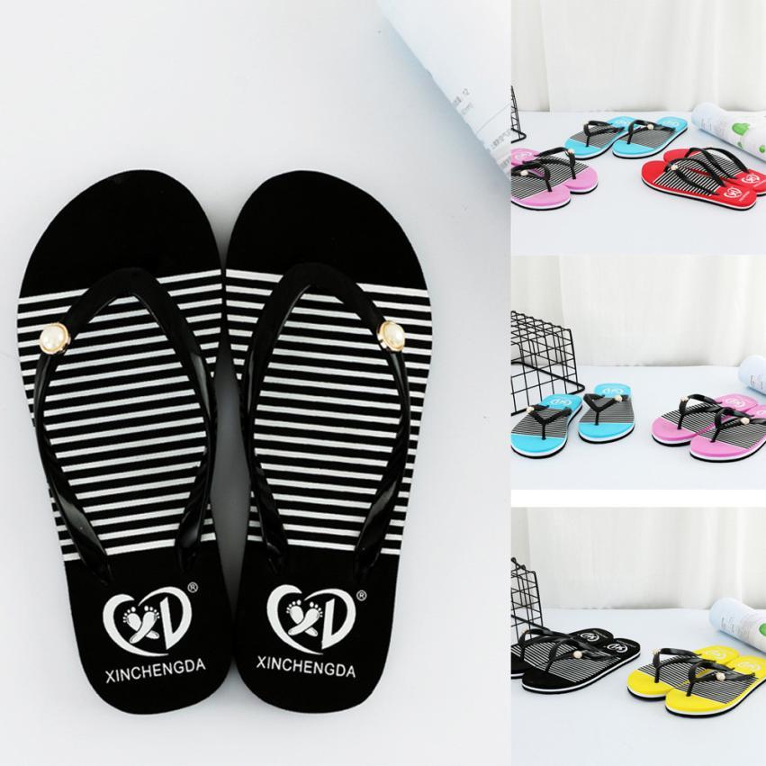 SAGACE Shoes Flip flops Women Summer Sandals Slippers Striped Leisure Soft Flip Flops Beach Slipper casual shoes women 2018JU13