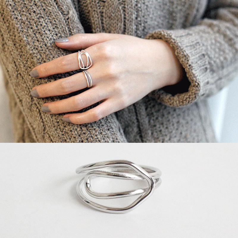 XIAGAO 925 Sterling Silver Open Ring For Women Irregular Hollow Lady Rings Bijoux Femme CNR199