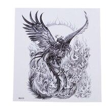 Черное пламя Феникс тату стикер водонепроницаемый пота прочный элегантный крутой Горячая тату Цветок на руку тату стикер