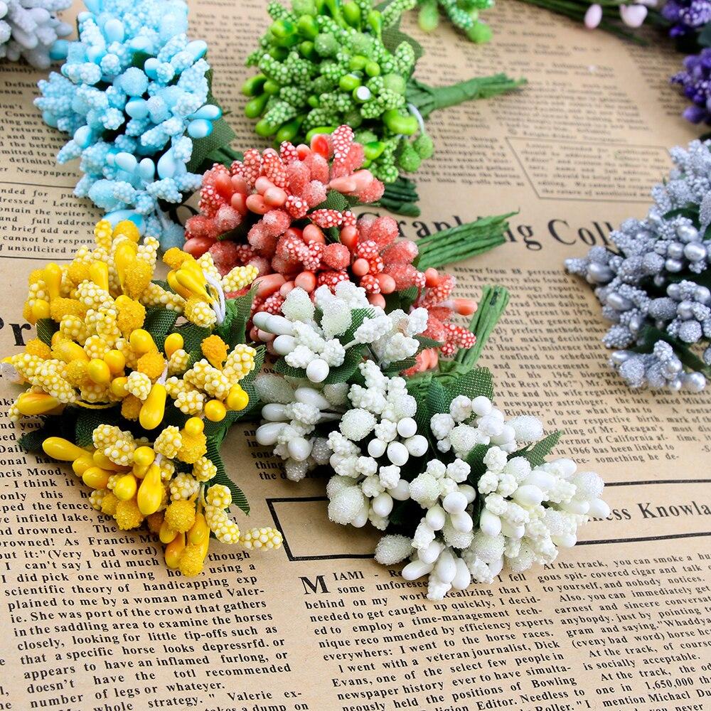 1 пучок 12 шт./лот искусственный цветок с тычинкой провод стволовых брак тычинки и листья DIY ВЕНОК свадебное украшение