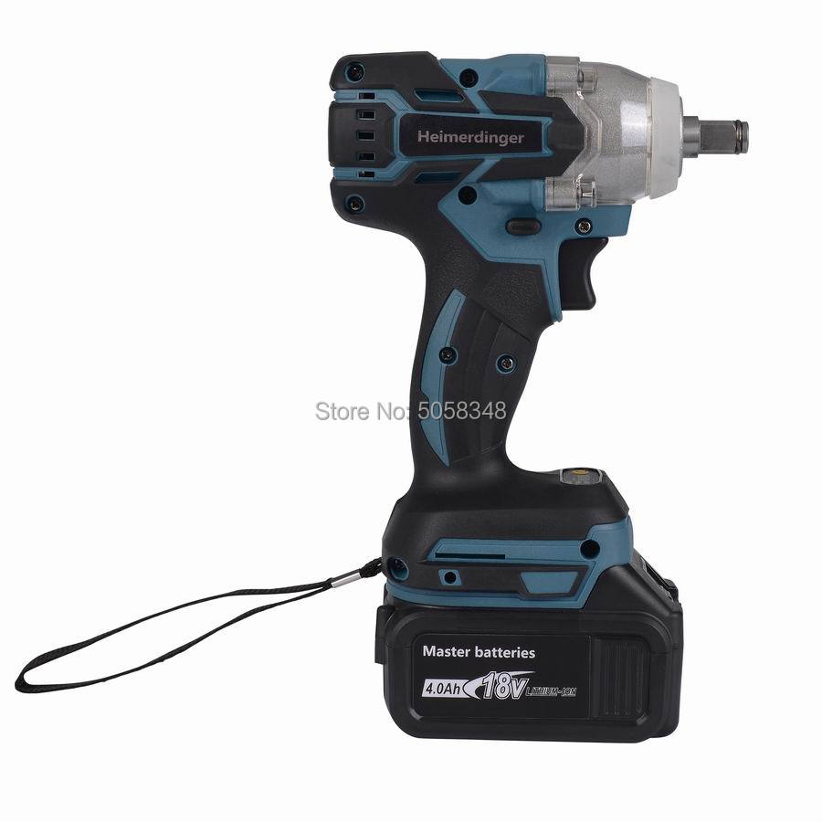 Tools : Electric Rechargeable Brushless Impact Wrench Cordless with one 18V 4 0Ah Lithium Battery