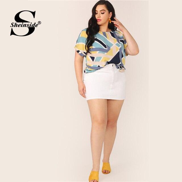 Sheinside Plus Size Geo Print Cuffed Sleeve Top Women 2019 Summer Boat Neck Elegant Blouses Ladies Casual Colorblock Top 3