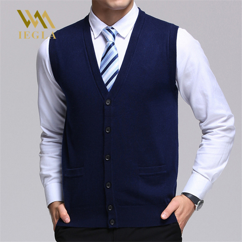 Sweater Men Autumn Winter Cashmere Classic Vest Sleeveless Sweaters Solid Color V-Neck Wool Cardigans Men Jersey Hombre