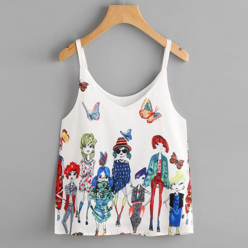 JAYCOSIN Summer   Tank     Tops   Women Casual Printing Sleeveless Crop   Top   Lady Fashion Vest Short Shirt Camis Apr13