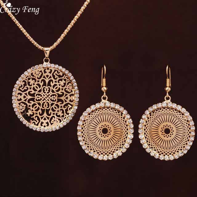 Crazy Feng Vintage Chinese Hollow Out Flower Wedding Jewelry Sets Gold Clolor CZ Crystal Round Pendant Necklace Drop Earrings