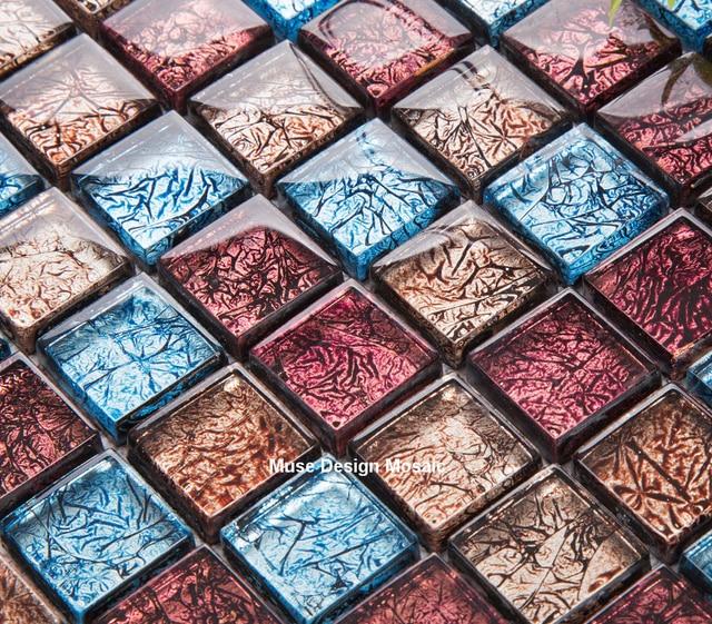 Retro Vintage Gold Red Blue Foil Glass Mosaic tile design Fireplace kitchen  backsplash Wall Sticker DIY