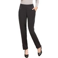 WAEOLSA Middle Aged Woman Casual Pant Black Gray Comfort Trousers Womens Elastic High Waist Pants Mother Grandma Trouser 2018