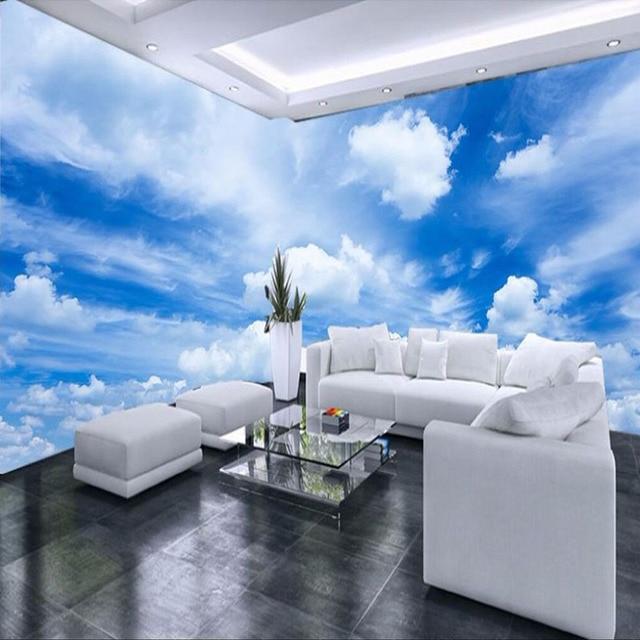 Custom 3D Muurschildering Behang Blauwe Hemel Witte Wolken Muur ...