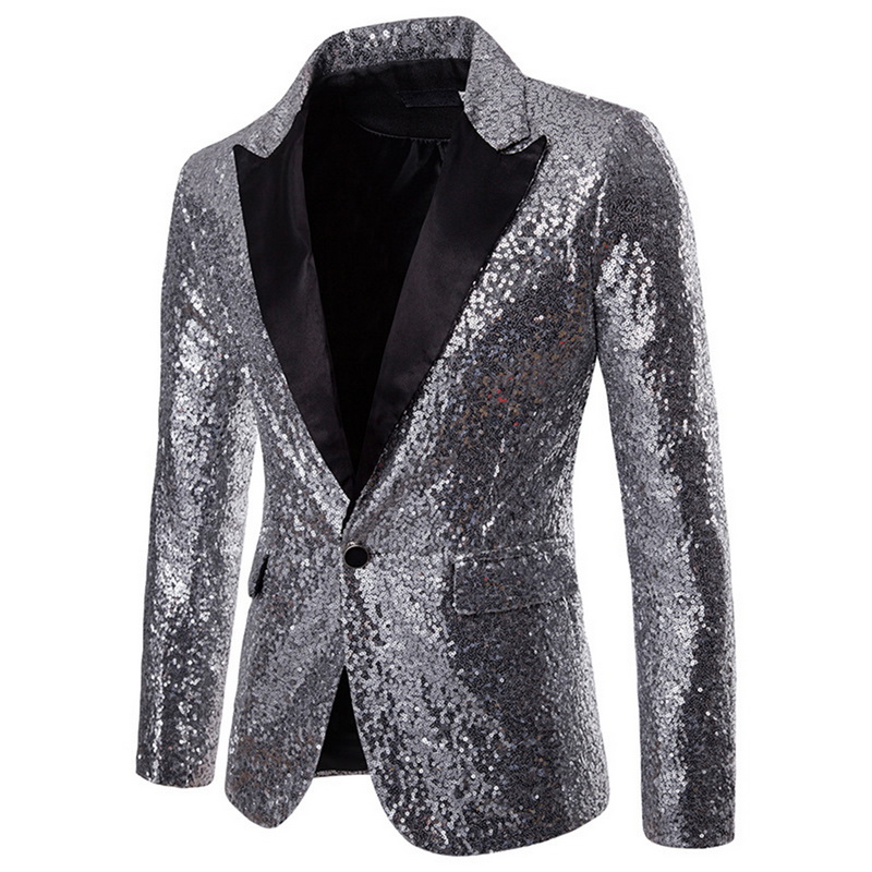 Oeak 2019 Hot Men Sequin Glitter Embellished Blazer Jacket Shiny Men Nightwear Blazer Weeding Party Suit Jacket DJ Stage Clothes