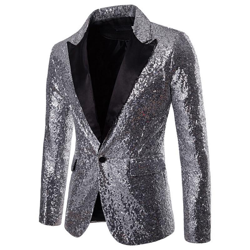 Oeak 2019 Hot Men Sequin Glitter Embellished Blazer Jacket Shiny Men Nightwear Blazer Weeding Party Suit Jacket DJ Stage Clothes