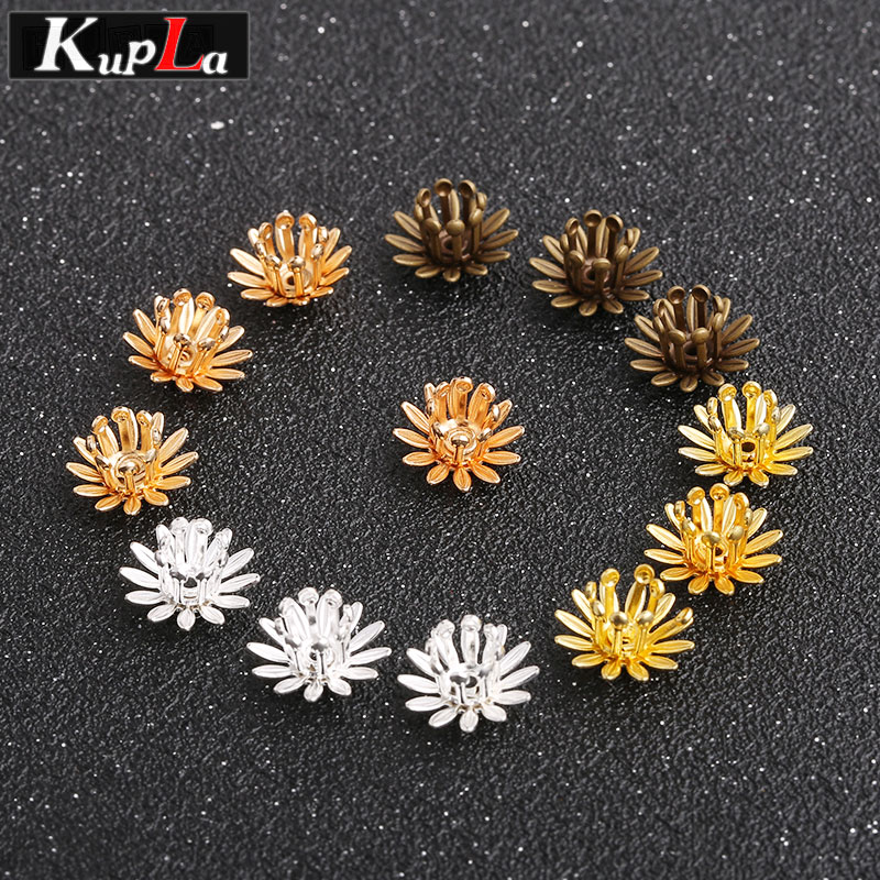 Metal Copper Cameo Flower Bead Caps DIY Handmade Jewelry Findings & Components Bead Caps for Jewelry Making 30 Pieces/lot