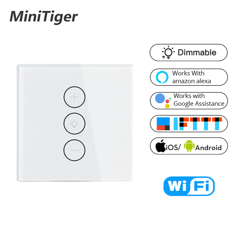 Compatible con Alexa APP Control remoto 2-Way AC 100-250V EU WiFi Interruptor de pantalla t/áctil para LED regulable White Regulador inteligente Dimmer Google