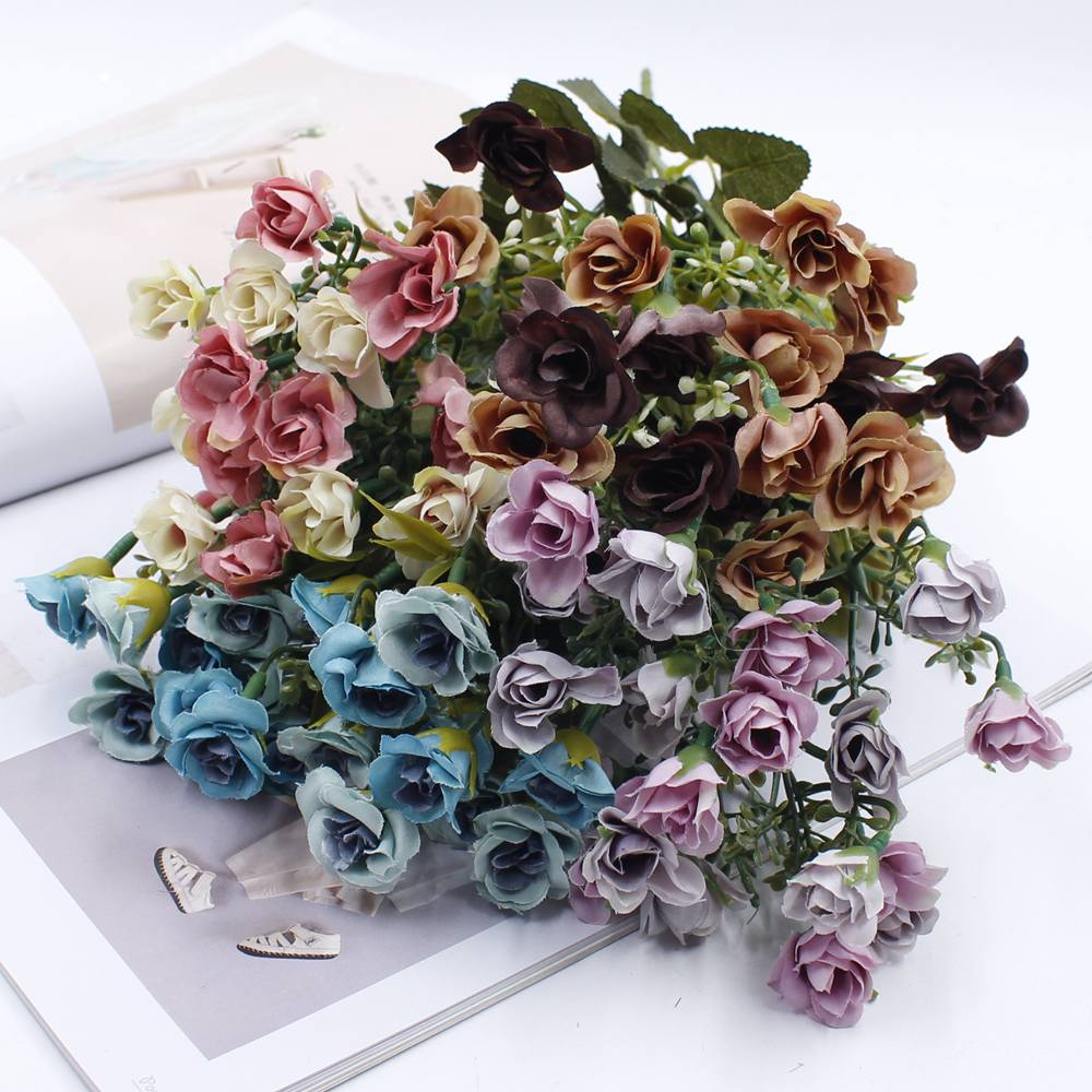 1 Pack Of 20 Flowers Diy Bouquet 4 Rayon Head Rose Flower Simulation