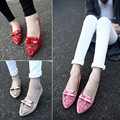 Early Spring Summer Genuine Pu Women'S Shoes Single Flat-Bottomed Shoes Woman Platform Bowtie Sweet Female Flats