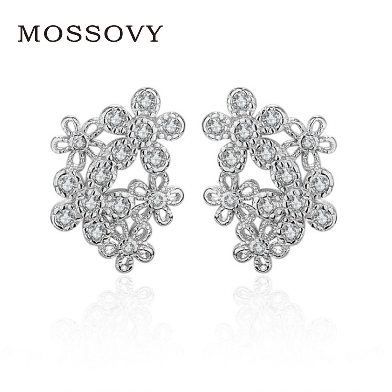 Mossovy Rhinestone Flower Stud Earrings Charms Boutique Ornaments Delicate  Accessories Fashion Jewelry Gift Bijoux for Women cf164a416e6f