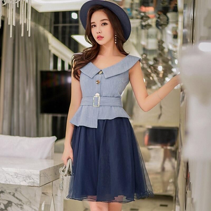 Dabuwawa nouveau été bouton asymétries robe mi-longue femmes Style marine sans manches bleu Patchwork robe en maille avec ceinture D18BDR271