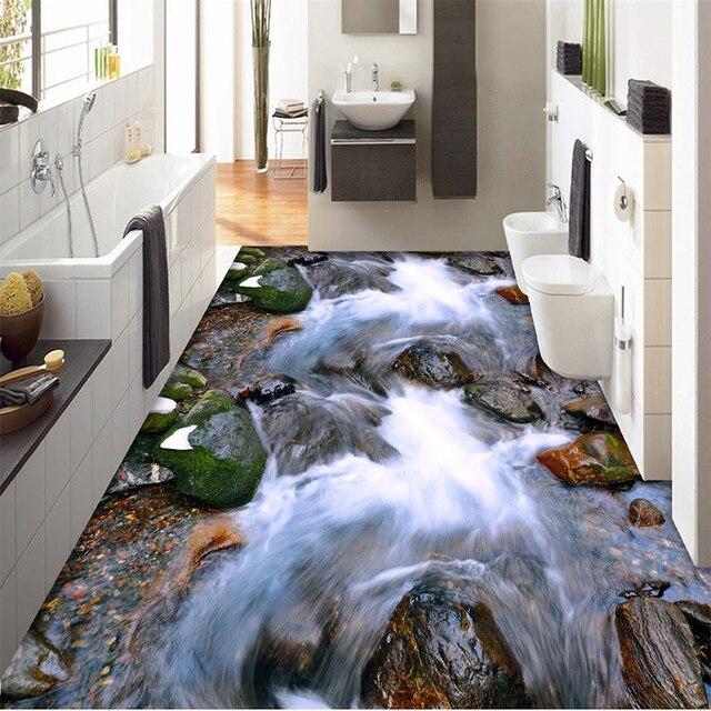 Ordinaire Custom Mural Wallpaper Landscape River Rock PVC Self Adhesive Floor  Paintings For Living Room Bathroom Wallpaper Papel De Parede