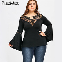 PlusMiss Plus Size Vintage 5XL Bell Sheer Flare Sleeve Top Floral Lace Sexy Blouse Women Clothing