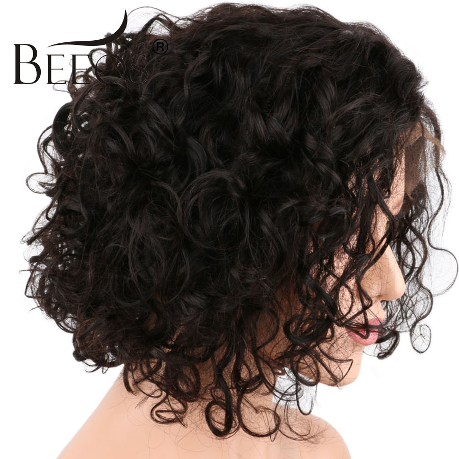 BEEOS 180% Density Curly Front Lace Wigs Pre Plucked Non Remy Brazilian Short Human Hair Lace Wigs with Baby Hair Natural Black