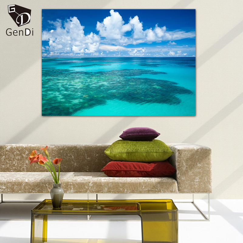 Genddi landscape antigua beach caribbean canvas painting modern very important infosthis item is printed on canvas not hand paintedwithout framesyou can buy a frame in your local frames shop or do it yourself solutioingenieria Images