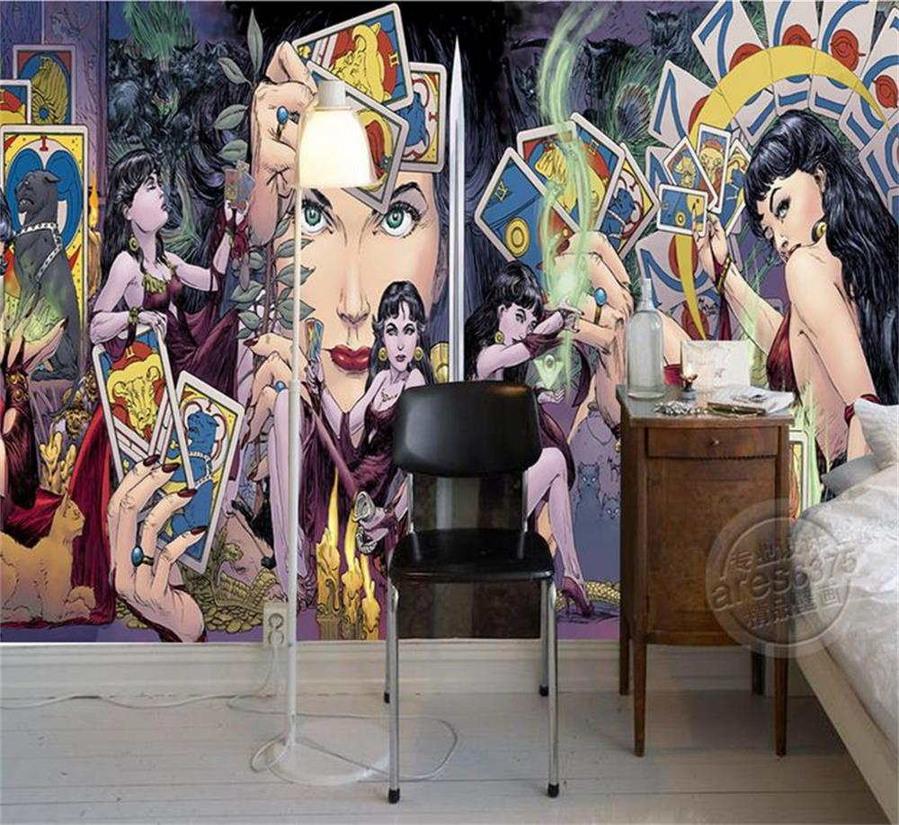 3d Wallpapercustom Photo Wall Papertarot Poker Beauty Girltvsofa