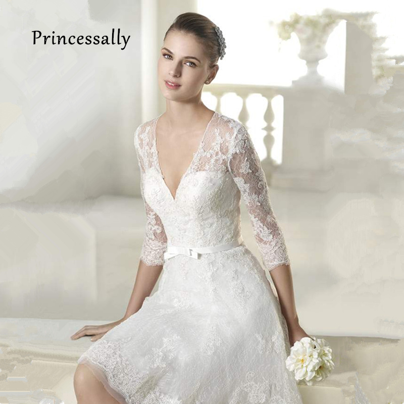 95df1652912d0 New Lace Wedding Dress Short A-line Sexy V neck Half Sleeve Simple Formal  Engagement