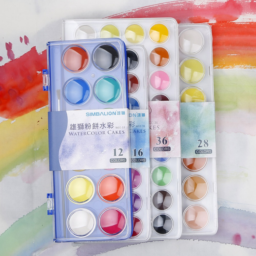 Simbalion 12/16/28/36 Colors Set  Watercolor Cakes Solid WaterColor Portable Sets solid watercolors paints Art Supply