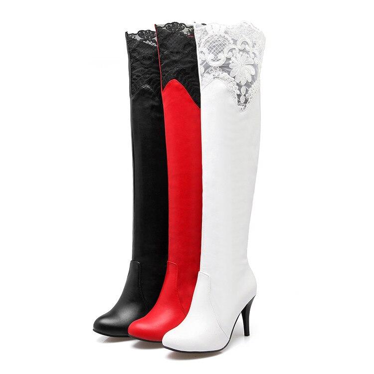 Grande Femmes Chaud Hiver Haute Mince Bottes 2017 Chaussures sur Casual Taille 34 De 50 Slip Pour Talons 915 Automne Noir blanc Rubans Hauts Sexy rouge qfwPfx