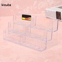 Best Practical Acrylic Plastic 6 Pockets Desktop Business Card Holder Display Stand Desk Shelf Fit For