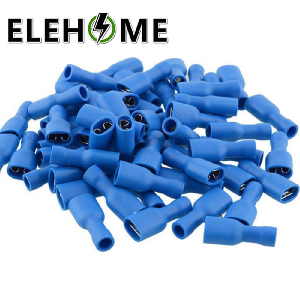 цена на 100pcs 6.8mm Insulated Crimp Terminal 16-14AWG Female Male Electrical Wiring Connector Spade Blue FDFD2-250 MDD2-250 50pairs F30